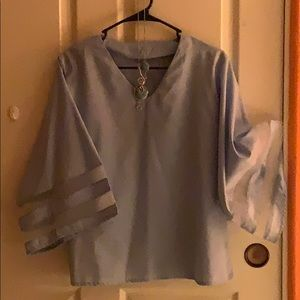 Tops - Baby Blue 3/4 Sleeves Top Free Necklace!!!